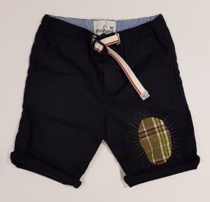 Pantaloncino blu scuro con toppa e ricami multicolore