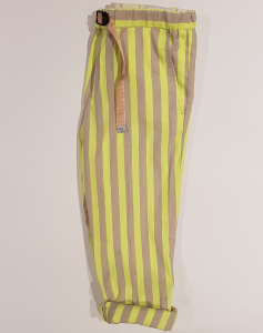 Pantalone a righe gialle fluo e beige