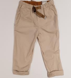 Pantalone beige con vita elasticizzata e cinta