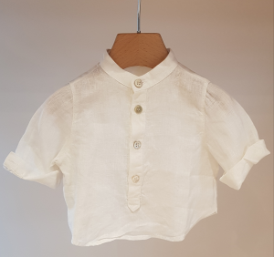 Camicia latte con colletto coreano, 3M-24M