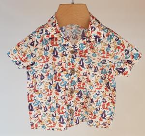 Camicia latte con stampe barche e uccelli multicolore, 3M-24M