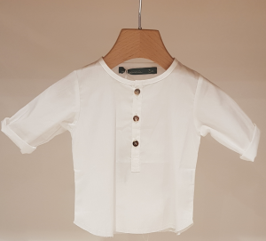 Camicia latte in cotone con colletto coreano, 3M-24M