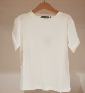T-Shirt latte in cotone girocollo