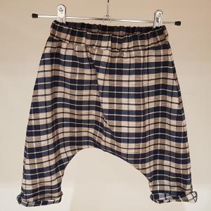 Pantalone a quadri blu scuri e tortora, 3M-24M