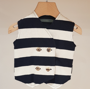Gilet a righe latte e blu scure, 3M-24M
