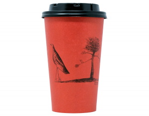 Bicchiere rosso in cartoncino bio