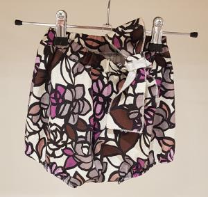 Culotte latte con stampa fiori rosa, marroni e grigi