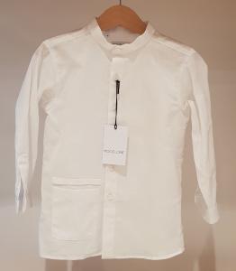Camicia bianca con colletto coreano e tasca