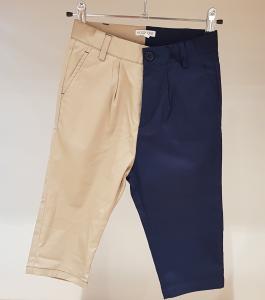 Pantalone blu scuro e beige