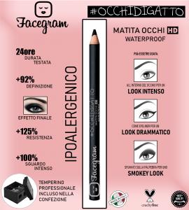 FACEGRAM- #OCCHIDIGATTO - MATITA OCCHI HD WATERPROOF, 24 ORE, IPOALLERGENICA (maxi formato 16cm)+ TEMPERAMATITE PROFESSIONALE