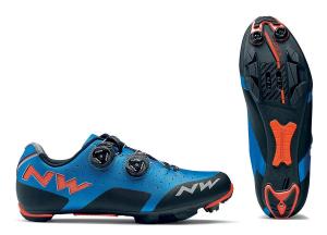 NORTHWAVE MTB Cycling Shoes REBEL blue/lobster orange