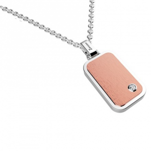 Collana Zancan in acciaio rosa e zaffiro bianco collezione Hiteck