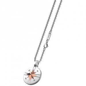 Collana Zancan in acciaio con stella su pendente tondo collezione Hiteck