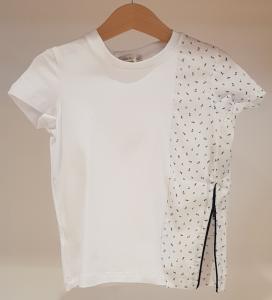 T-Shirt bianca con stampe blu e zip