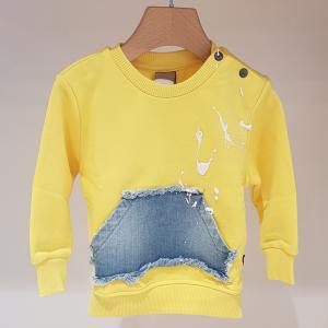 Felpa gialla con tascone di jeans
