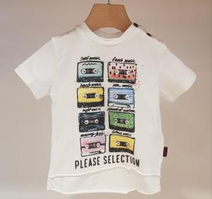 T-Shirt bianca con stampa cassette multicolore