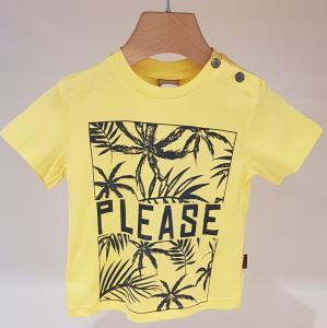 T-Shirt gialla con stampe scritta e palme nere