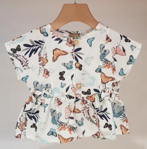 Blusa bianca con stampa farfalle multicolore
