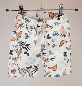 Pantalone bianco con stampa farfalle multicolore