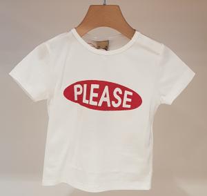 T-Shirt bianca con stampe ovale rosso glitter e scritta bianca