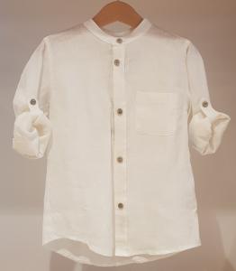 Camicia bianca con colletto coreano e taschino