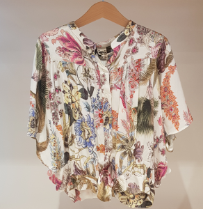 Camicia bianca con stampa piante multicolore