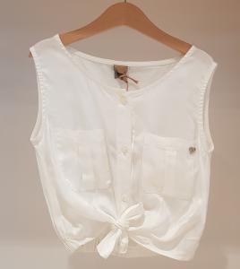 Camicia bianca smanicata con fiocco e tasche
