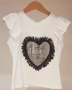 T-Shirt bianca con cuore nero