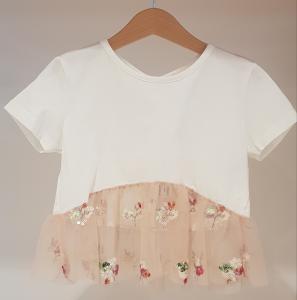 T-Shirt bianca con gonna rosa in tulle e paiettes multicolore