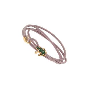 Bracciale in pelle, oro rosa e smeraldi