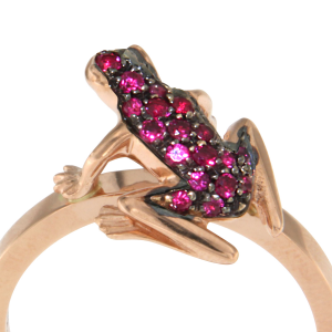 Anello Kissing Frog in oro e rubini