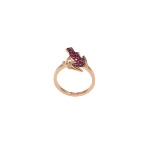 Anello Kissing Frog in oro rosa e rubini