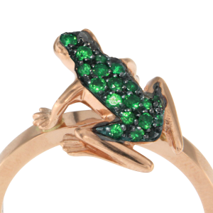 Anello Kissing Frog in oro e smeraldi