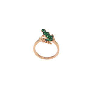 Kissing Frog ring in gold and emeralds