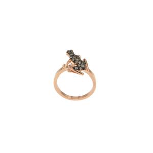 Anello Kissing Frog in oro rosa 18k e diamanti brown