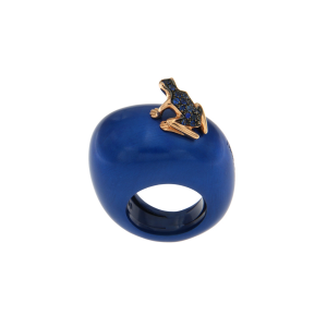 Ring in cataphoresis treated silver, 18k gold and sapphires