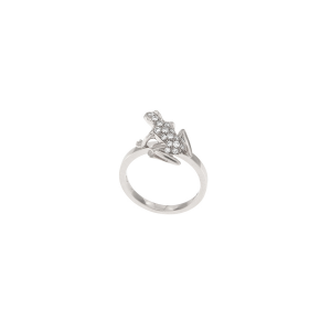 Anello Kissing Frog in oro bianco 18k e diamanti