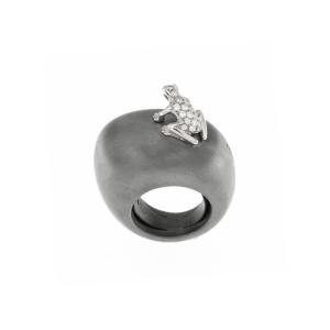 Anello in argento, oro bianco e diamanti