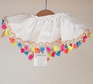 Top costume da bagno bianco con nappe multicolore