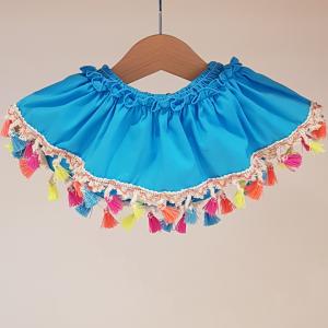 Top costume da bagno turchese con nappe multicolore