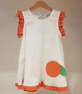 Vestito bianco con toppa arancia e dettagli arancioni