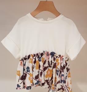 Blusa bianca con ricami fiori multicolore, 3M-10A