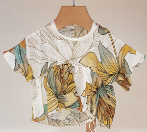 Blusa bianca con stampa fiori verdi e gialli