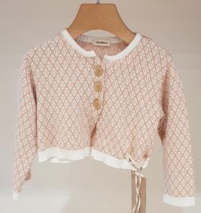 Cardigan bianco con ricami rombi e cerchi rosa