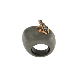 Anello base grande argento nero, oro rosa 18k e diamanti brown