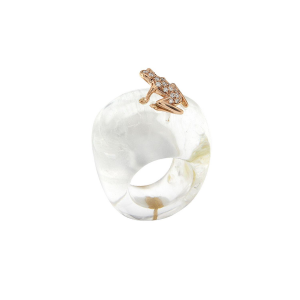 Ring in rock crystal, diamonds and rose gold