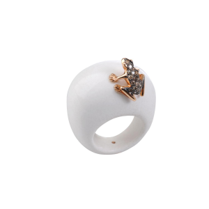Anello Happy Frog in pietra, oro rosa e diamanti brown