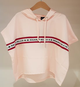 Felpa rosa con ricami loghi neri e banda rossa e bianca