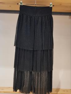 Pantalone nero glitter con balze