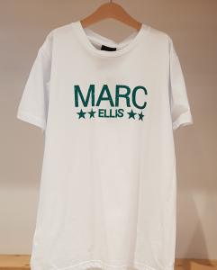 T-Shirt bianca con stampa logo verde glitter